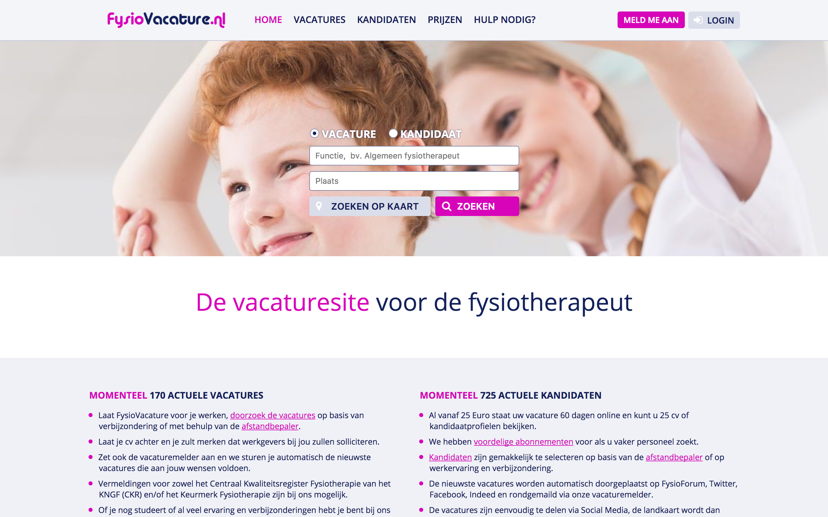 homepage FysioVacature